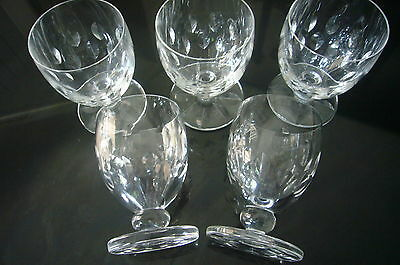 Signed Lalique France 5 White  Wine Crystal Glasses  Pattern  Mandorles Concaves