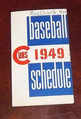 Chicago Cubs Baseball schedule  1949 MBL