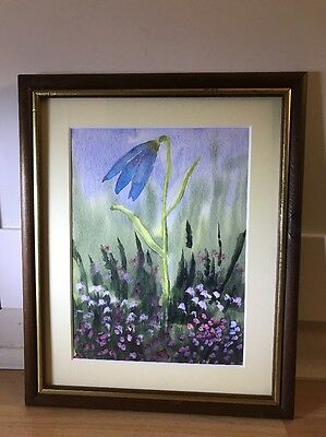 Cheery Watercolour Painting Of Flowers In Wood Frame