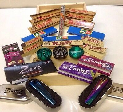 New YR Share Kit, Large Wooden Rolling Box Kit. Grass Tobacco Weed Rizla Smoking