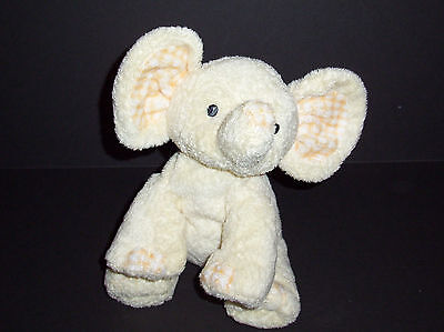 TY Baby Pluffies P'Nut Yellow Gingham Elephant 2006 Peanut Plush Lovey Toy