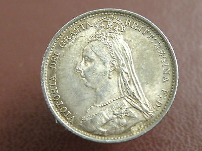 1887 Queen Victoria - SILVER SIXPENCE COIN - Good Quality - 'R' OVER 'V' RARITY
