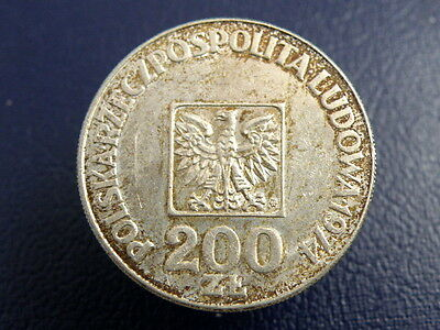 POLAND - 1974  200 ZLOTYCH SILVER COIN - Good Coin