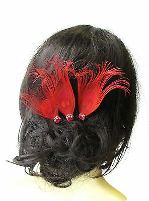 3 x Red Silver Peacock Feather Hair Pins Bridesmaid Headpiece Vtg Bridal 1640