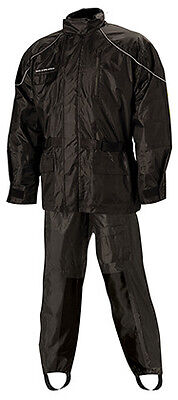 Nelson-Rigg AS-3000 Aston Black Two-Piece Motorcycle Rain Gear Suit X-Large