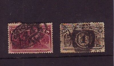 USA 1893 Columbus Expo 10c '1' Duplex Cancel + 8c Chicago