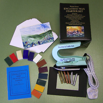 Encaustic Wax Art Starter Set(UK) with Iron, card, wax, instructions. For the UK