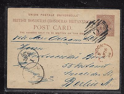 British Honduras (Pp1301B) Qv Surcharged Psc 1888 To Germanyu With Msg