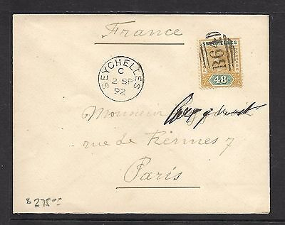 Seychelles (P1201Bb) 1892 Qv 48C B64 Cover To France