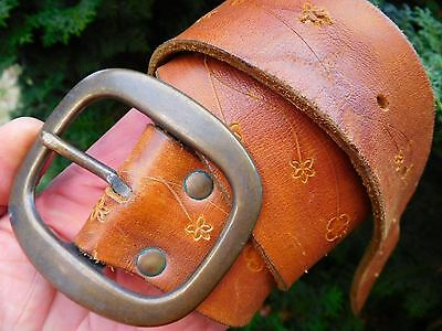 VINTAGE 1970's HAND TOOLED BROWN LEATHER BELT SIZE APPROX 36 BOHO HIPPY