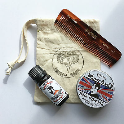 Natural Hair & Beard Kit | Warm & Spicy Oil | Kent A0T Comb | Pomade | Gift Set