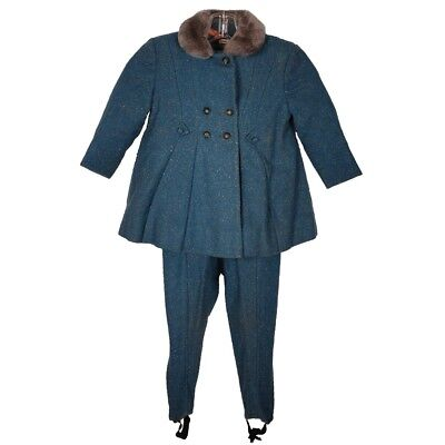 Vintage 1950s Childs Blue Flecked Wool Coat and Legging Pants Little Nugget Mtl