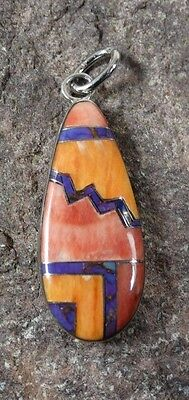 Navajo Sterling Kingman Turquoise Spiny Oyster Shell Pendant