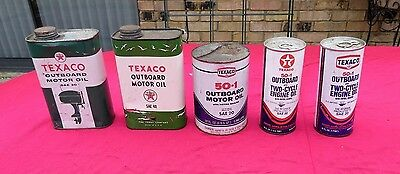 5 Vintage Outboard Boat Motor Texaco Oil Cans - Advertising Tins Gas