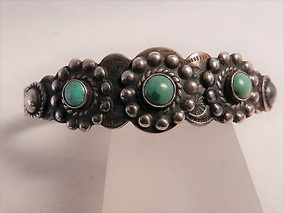 Old Fred Harvey Era Native American Navajo Silver +Turquoise Cuff Bracelet