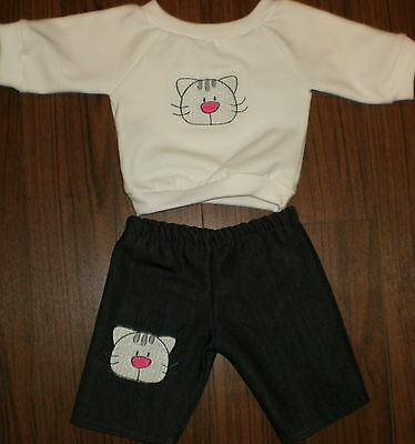 """New Handmade Doll Clothes for 16 """"-18"""" Cabbage Patch  T-Shirt & Jean Set Kitty"""