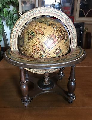 """Vintage Globe Made In Italy Zodiac Map Wood Stand 12"""" Astrology Desk Italian"""