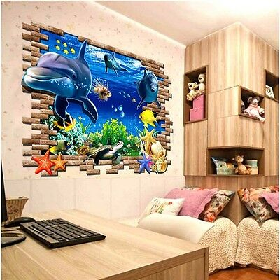 Dolphin Cracked Wall decal Removable stickers decor art kids nursery Mural PO