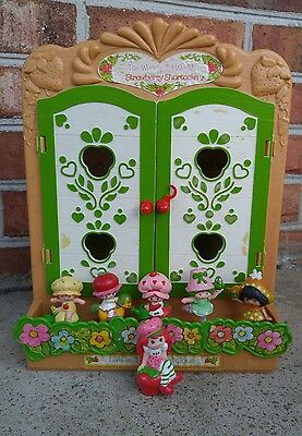 Vintage Strawberry Shortcake Display Cabinet with figures