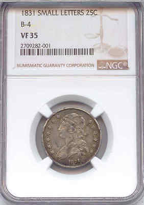 1831 Capped Bust Silver Quarter, Small Letters, Browning-4, NGC Certified VF-35