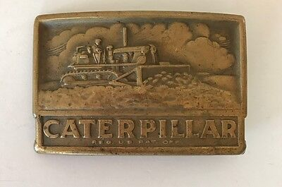 Vintage Caterpillar Belt Buckle Track Type Tractor Brass Engraved Farming