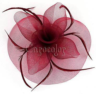 Burgundy Feather Hair Headband Fascinator Millinery Wedding Party Hat Ascot Race