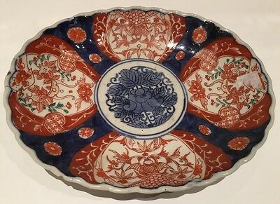 Antique 19th Century Japanese Imari Large Oval Hand painted Dish, Some Damages