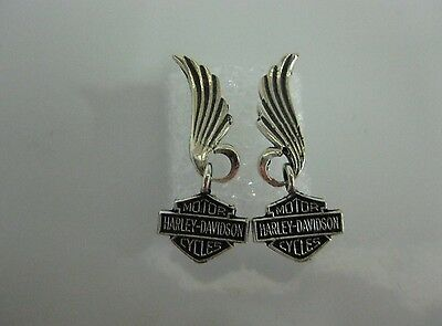 """Harley Davidson Bar & Shield Feather Sterling Earrings New - """"Great Gift"""""""
