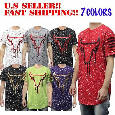 Chicago Bulls Elongated Long T-Shirt Splatter Ripped Parody Mens RED BLACK