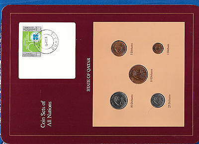 Coin Sets of All Nations Qatar 1973 - 1987 UNC 25, 50 Dirhams 1987