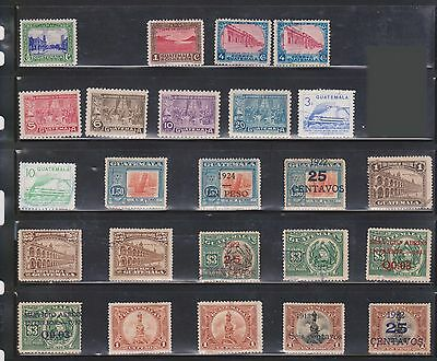 (U10-16) 1930s Guatemala mix of 29 stamps value to 3Q (F)