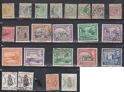 (U8-1) 1905 Cyprus mix of 40 stamps ¼P to 100M (A)