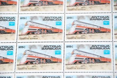 American Train EXPRESS MNH Sc 934 CV$35.00, Antigua part sheet of 25 qq