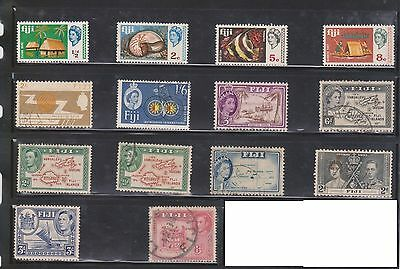 (U8-14) 1938-80 Fiji Mix of 49 stamps ½d to 1/- & 2c to 50c (A)