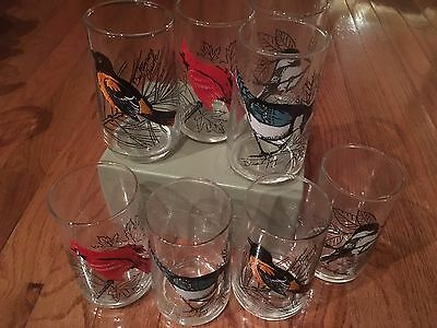 Vintage glassware with painted birds