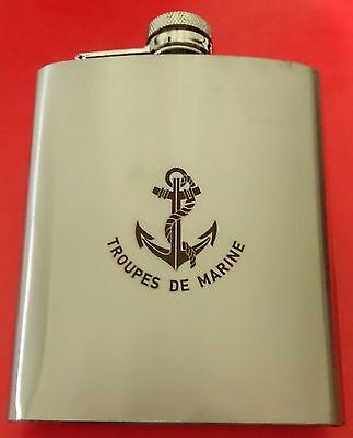 Flasque alcool Whisky en INOX / STAINLESS STEEL 7 OZ = 200 ml TROUPES DE MARINE