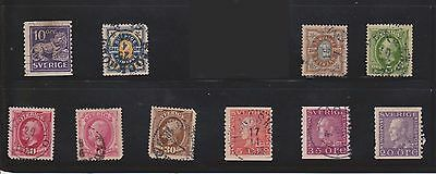 (U5-11) 1891-1921 Sweden mix of 10 stamps 10 ORE to 35ORE