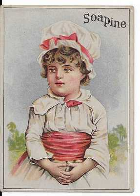 Soapine Soap Victorian Trade Card Kendall Mfg. Co. Providence R.i. Girl Bonnet