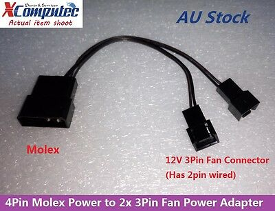 4Pin Molex LP4 Power to Two 2x 3Pin Case Cooling Fan Converter Adapter 12V