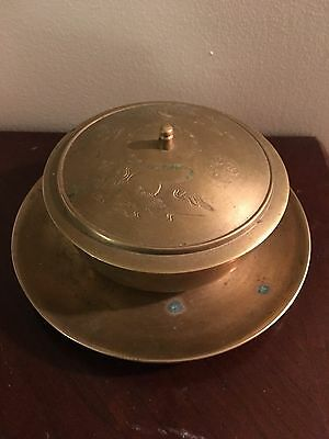 Antique Vintage  Korean solid Brass  ~ Plate with Bowl Jar & lid etched design