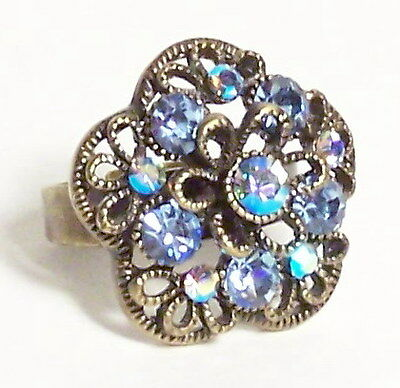 Blue Flower Ring Size Adjustable Vintage Anitque Style New Rhinestone Crystals
