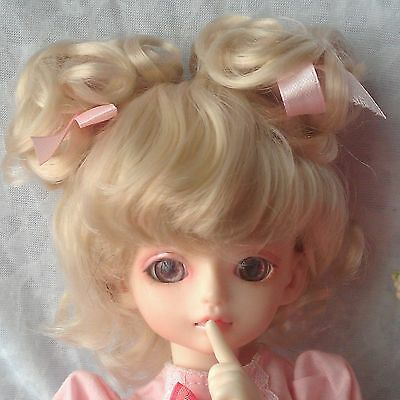 "7-8"" Blonde Pigtails Synthetic Wig Hair for 1/4 MSD Doll BJD Dollfie"