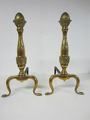 Solid Brass WILLIAMSBURG Style Pineapple Top Fireplace Hearth Andirons Firedogs