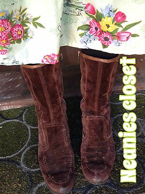 Vintage CHOCOLATE SUEDE FLEECY LINED ANKLE BOOTS GORGEOUS STYLE WARM & SNUGGLY