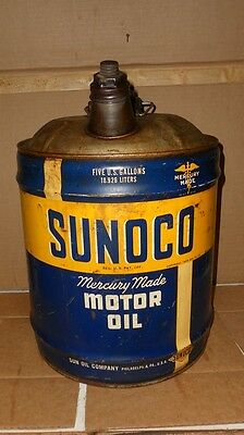 Vintage Sunoco Mercury Made Motor Oil 5 Gallon Oil Can  All Metal