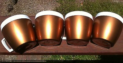 Vintage West Bend Set of 4 Coffee Mugs.Thermo-Serv.Copper & white. Made in USA