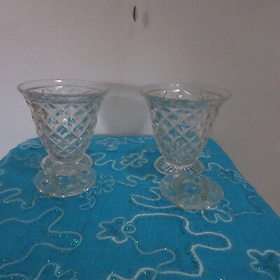 2 Vintage Crystal Vases With Frogs - Vgc
