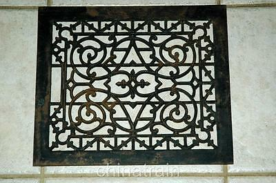 Vintage House Ornate Floor Wall Heating Grate Vent Cast Iron 14 x 12 Steam Punk