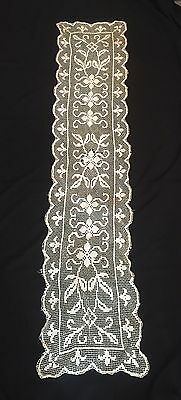 Antique  Linen Table Cloth Ecru Lace Runner
