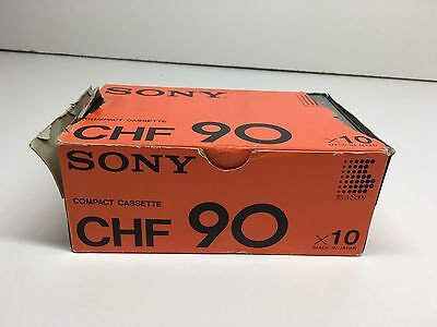 Sony CHF-90 Minute Vintage Recordable Cassette Tapes Box Of 10